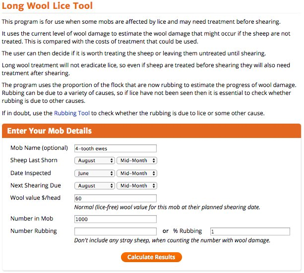 Figure 1. Input page of the Long Wool Tool