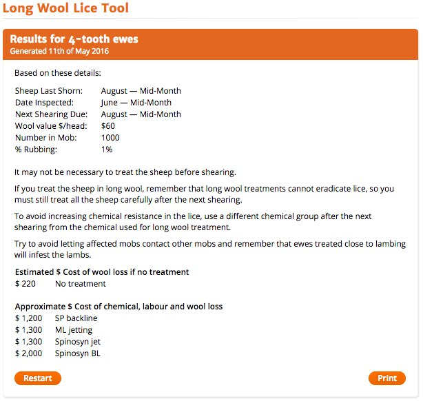 Figure 2. The Long Wool Tool results page shows costs of various long wool treatment options against the cost of wool damage.